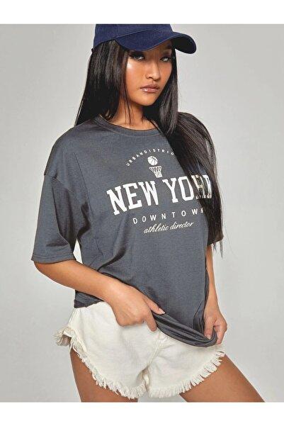 Sirius Tekstil Kadın Antrasit New York Oversize Baskılı T-shirt