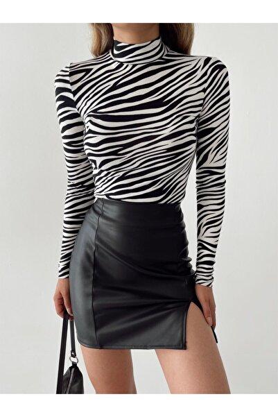 LACHT Kadın Siyah Beyaz Zebra Desen Dik Yaka Uzun Kollu Bluz