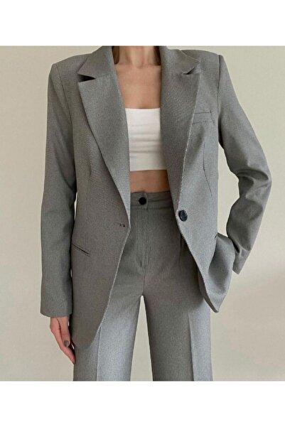 Jojua Kadın Gri Silver Palazzo Ceket Pantalon Takım