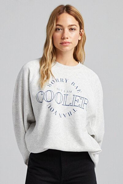 Bershka Baskılı Oversize Sweatshirt