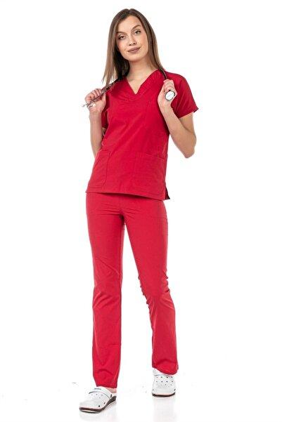 Çatı Medikal Ultralycra Spaniard - Doktor Hemşire Forma Takımı (KADIN), Kırmızı