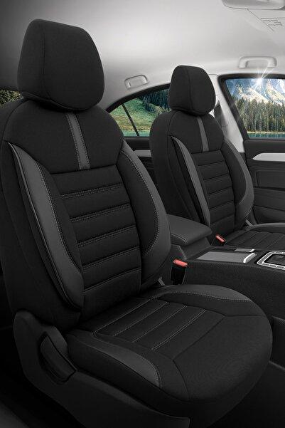Otom Airbag Dikişli Ortopedik Yüksek Kalite Oto Koltuk Kılıfı Tam Set - Limited Design Siyah-gri