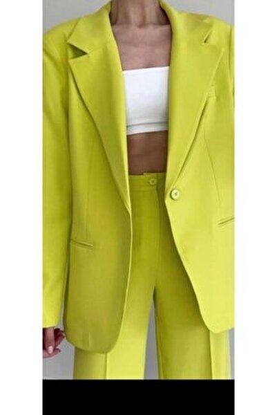 Retro Boyfriend Oversized Lime Blazer Ceket