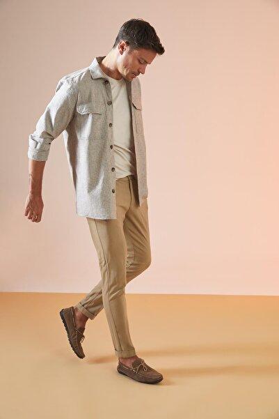DeFacto Regular Fit Basic Uzun Kollu Keten Gömlek Ceket