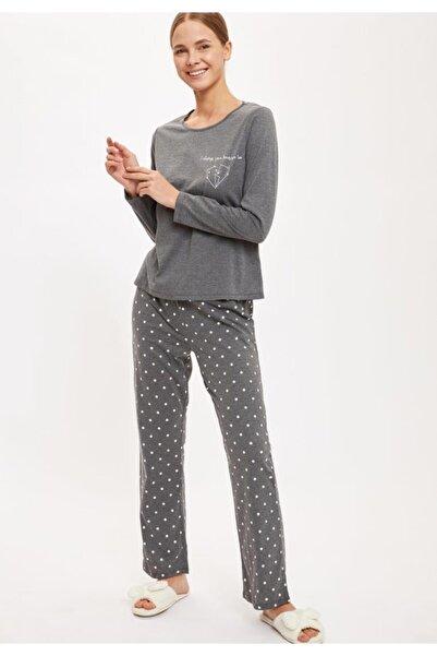 DeFacto Fit Kadın Antra Melange Altı Desenli Üstü Minimal Baskılı Pijama Takımı S6573AZ20AU