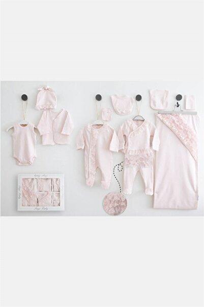 Pugi Baby 3551 Kız Bebek Pembe Dantelli Set