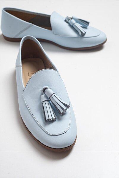 LuviShoes F04 Mavi Cilt Hakiki Deri Ayakkabı