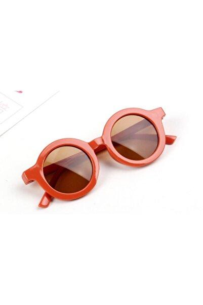 CAROTA Çocuk Güneş Gözlüğü Retro Parlak Turuncu Kahverengi Cam