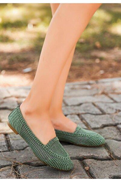 ESPARDİLE Rinz Mint Yeşili Örgülü Babet Ayakkabı