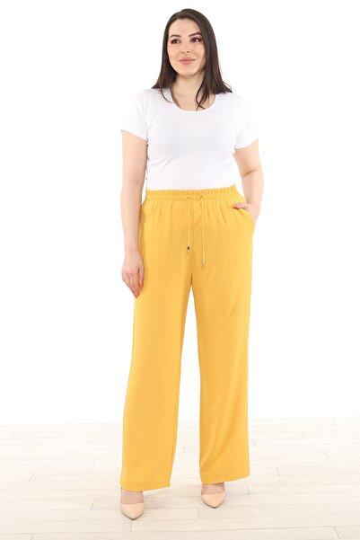 Heves Giyim Büyük Beden Bürümcük Sarı Pantolon