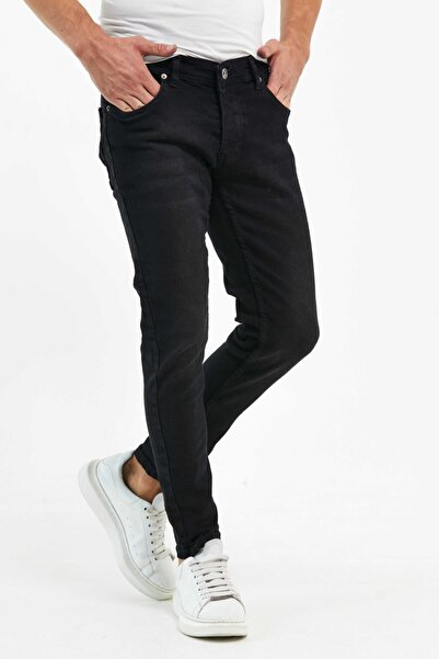Newtime Erkek Pantolon Skinny Fit Likralı Düz Siyah Black