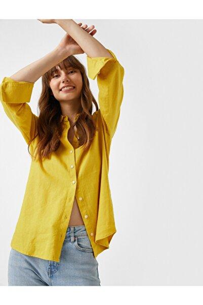 Koton Düz Renk Gömlek Uzun Kollu
