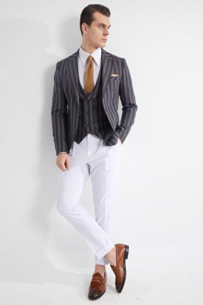 Fc Plus Erkek Antrasit Çizgili  Kombinli Yelekli Ceket