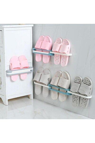 extrasepetim Plastik Banyo Terlik Ve Havlu Tutucu Portatif Pratik Kapı Arkası Duvara Yapıştırmalı Ayakkabı Rafı
