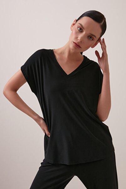 Gusto V Yaka Tshirt - Siyah