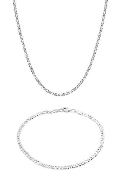 Elika Silver Erkek 925 Ayar Gümüş Gurmet Zincir Kolye Bileklik Set