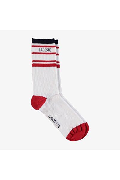 Lacoste Kadın Uzun Baskılı Beyaz Çorap