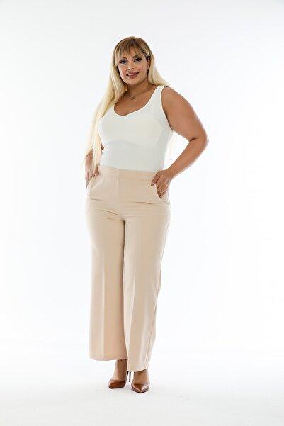 Nilbutik Büyük Beden Beli Lastikli Cepli Bol Paça Kadın Pantolon Vizon