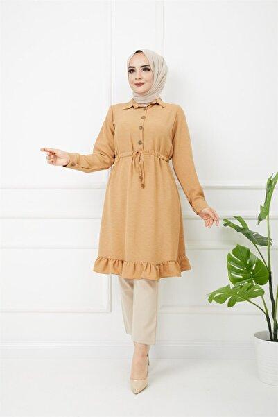 Moda HGM Kadın-beli Bağcıklı, Düğmeli Gömlek Vizon
