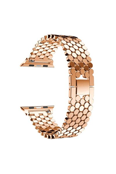 Apple Watch Seri 2/3/4/5/6/se 40mm Uyumlu Nezih Case Metal Bal Peteği Kordon Rose Gold