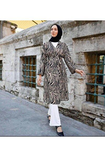 Talia Zebra Desenli Kuşaklı Kimono