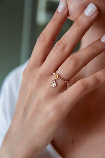 Papatya Silver 925 Ayar Gümüş Sarı Ay Taşlı Kalp Motifli Ayarlanabilir Kadın Yüzük