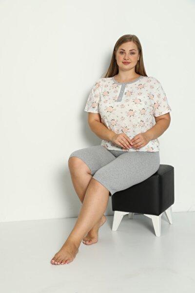 Tutkun Büyük Beden Bayan Pijama Takımı 11657 Gri Model
