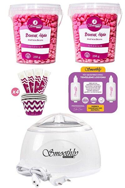 Smoothly 2 Adet 250 gr Soyulabilen Boncuk Ağda Ağda Isıtıcı Makine, Masaj Yağı ve Spatula Seti
