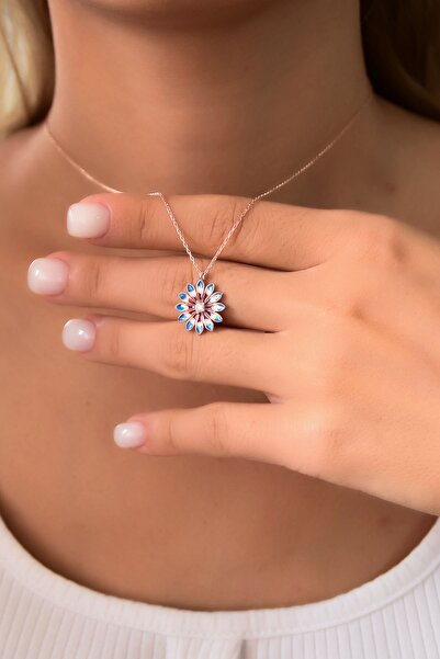 Papatya Silver 925 Ayar Gümüş Rose Kaplama Mavi Mineli Papatya Kadın Kolye