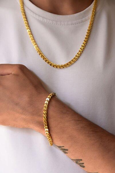 Papatya Silver 925 Ayar Gümüş Altın Kaplama Pul Zincir Erkek Kolye Bileklik Set