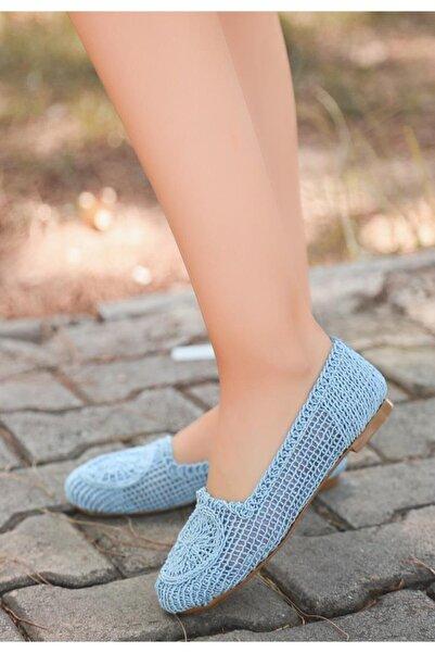 ESPARDİLE Rinz Bebe Mavisi Örgülü Babet Ayakkabı