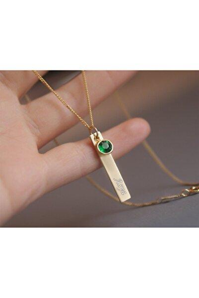Papatya Silver 925 Ayar Gümüş Rose Kaplama Yeşil Doğum Taşı Plaka Isimli Kadın Kolye