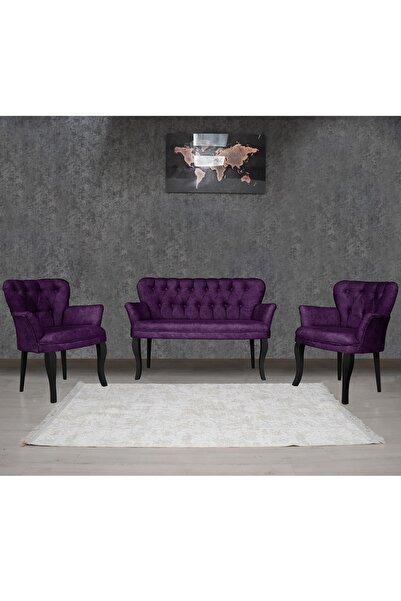 Olinpa Kollu Çay Seti 2+1+1 Balkon Ofis Cafe Bahçe Koltuk Takımı | Siyah Ahşap Ayak