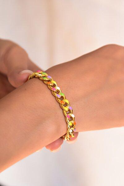 Papatya Silver 925 Ayar Gümüş Altın Kaplama Renkli Mineli Gurmet Zincir Kadın Bileklik
