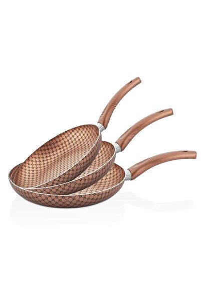 papilla Desert 3'lü 18-22-26 cm Desenli Tava Seti, Bronz