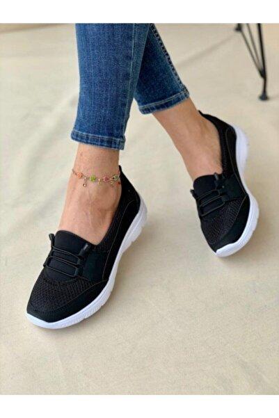 AYŞEM Beyaz Tabanlı Siyah Ortopedik Günlük Ayakkabı