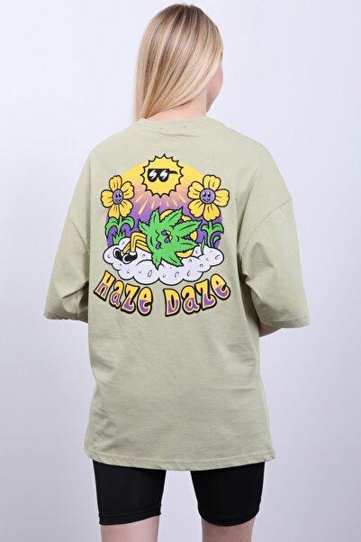 Masorte Kadın Ön / Arka Haze & Daze Baskılı Oil Green T-shirt 100% Pamuk