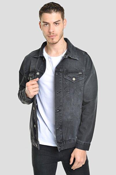 LTC Jeans Erkek Oversize Antrasit Yıpratma Rodeo  Düğmeli Kot Ceket