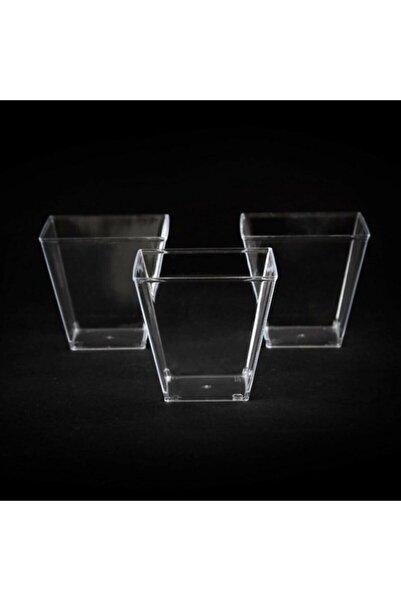 Salkım Party Beyaz At -şeffaf Kristal Mika Ekstra Sert Plastik Prizma Kübik Kase 200 Cc 25 Adet. - Beyaz At