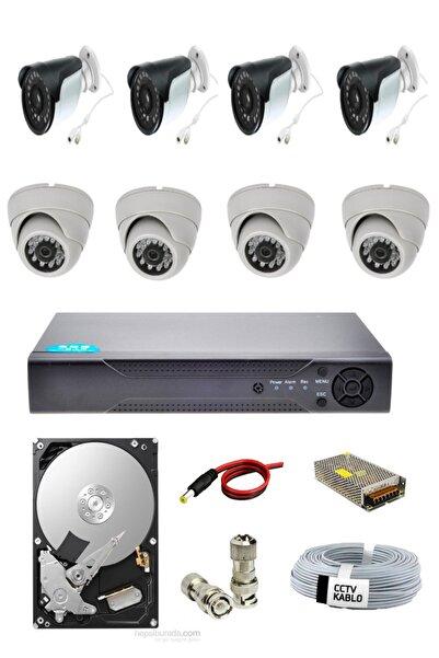 OEM 8 Li 4 Dış 4 Iç Mekan Kamera Güvenlik Seti 1080p Hdd Dahil Gece Izlenebilir