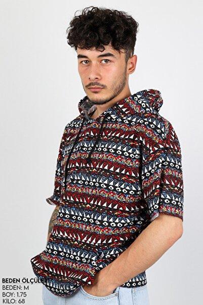 Sekizbiraltı Etnik Kırmızı Kısa Kol Kapşonlu Sweatshirt