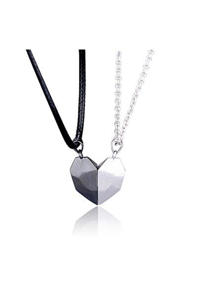 AlpCollection Gri Siyah Iki Adet Mıknatıslı Çift Kalp Sevgili Metal Kolye Takı