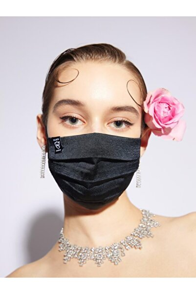 DIZAYN MASK Gümüş Iyonlu Yıkanabilir Bez Maske Siyah 3-5 Yaş Çocuk Telli Uzun Lastik