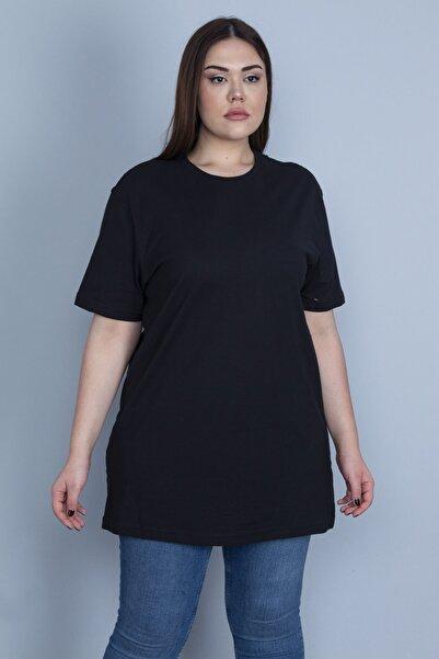 Şans Kadın Siyah Geniş Kesim Pamuklu Kumaş Oversize Bluz 65N27826