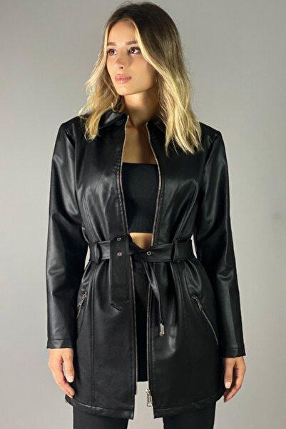 Jaglion Kadın  Siyah Uzun Deri Ceket