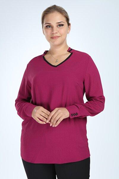 HN TEKSTİL Kadın Büyük Beden Uzun Kol Biyeli V Yaka Bluz Mor L2324