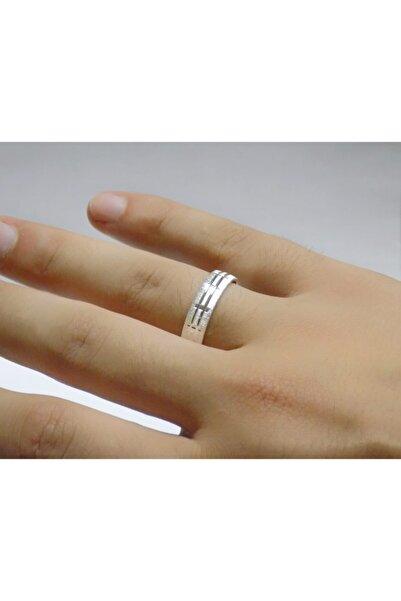 N&M&O& Sade Çizgili Gümüş Alyans Söz Nişan Yüzüğü