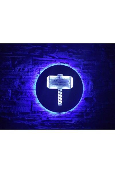 KIRMIZI BEYAZ TASARIM Thor Mjolnir Led Işıklı Tablo