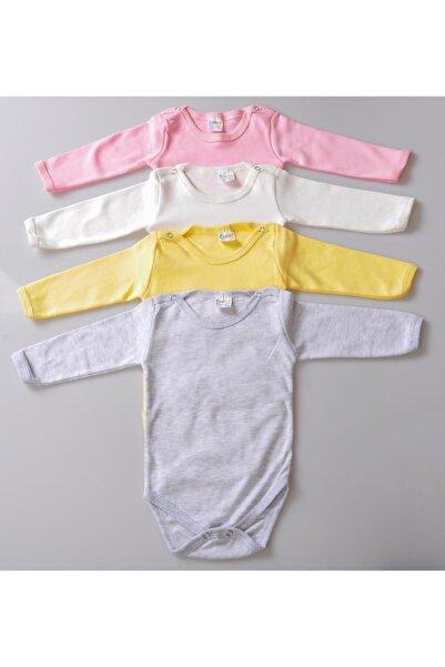 POKY BEBE 4'lü Kız Bebek Çocuk Karışık Renk Uzun Kollu Çıtçıtlı Body Zıbın-001002005