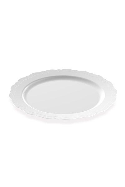 BERGAMA PLASTİK 26 cm Lüks Beyaz Mika Tabak (50 Adet)